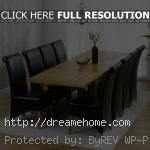 rustique oak extending 8 leather dining chairs